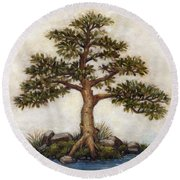 Island Tree Round Beach Towel