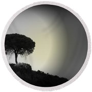Round Beach Towel featuring the photograph Isolation Tree by Clare Bevan