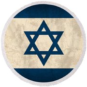 Israel Flag Vintage Distressed Finish Round Beach Towel