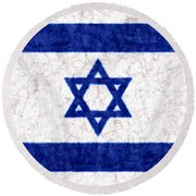 Israel Star Of David Flag Batik Round Beach Towel
