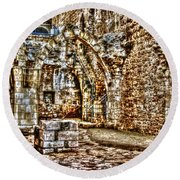 Round Beach Towel featuring the photograph Israels Ruins by Doc Braham