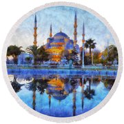 Istanbul Blue Mosque  Round Beach Towel
