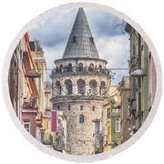 Istanbul Galata Tower Round Beach Towel