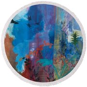 Round Beach Towel featuring the painting It Ain't A Fable Baby by Robin Maria Pedrero