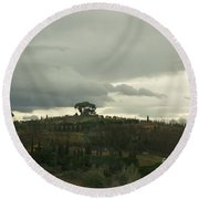 Round Beach Towel featuring the photograph Italian Hillside by Robin Maria Pedrero