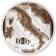Italian Map Round Beach Towel