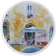 Italian Piazza Round Beach Towel
