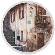 Round Beach Towel featuring the photograph Italian Square In  Snow by Silvia Ganora