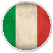 Italy Flag Vintage Distressed Finish Round Beach Towel