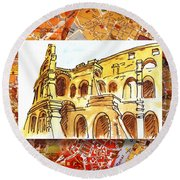 Italy Sketches Rome Colosseum Ruins Round Beach Towel