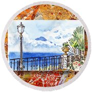 Italy Sketches Sorrento View On Volcano Vesuvius  Round Beach Towel