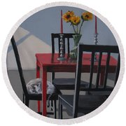 Round Beach Towel featuring the painting Its A New Day by Karen Ilari