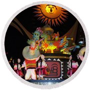 It's A Small World With Dancing Mexican Character Round Beach Towel