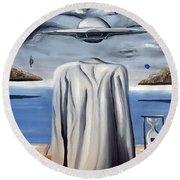 Round Beach Towel featuring the painting Its All In Your Head by Ryan Demaree