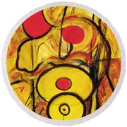 Round Beach Towel featuring the painting It's All Relative by Stephen Lucas