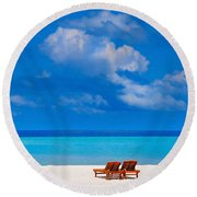 Its That Simple Round Beach Towel by Jenny Rainbow