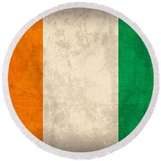 Ivory Coast Cote Divoire Flag Vintage Distressed Finish Round Beach Towel