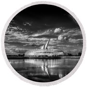 Ivory Tower Of Knowledge Bw Round Beach Towel