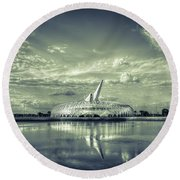 Ivory Tower Of Knowledge- Split Tone Round Beach Towel