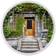 Ivy Covered Doorway - Trinity College Dublin Ireland Round Beach Towel