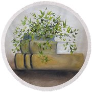 Round Beach Towel featuring the painting Ivy League by Judith Rhue