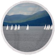 Round Beach Towel featuring the photograph J Boats Lake George N Y by John Schneider