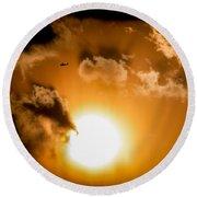 Round Beach Towel featuring the photograph Jabiru Sunset Cloud by Paul Job