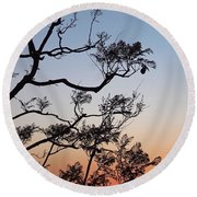 Jacaranda Sunset Round Beach Towel