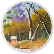 Round Beach Towel featuring the painting Jacaranda Tree by Pamela  Meredith