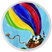 Round Beach Towel featuring the painting Jack And Charlie Fly Away by Jackie Carpenter