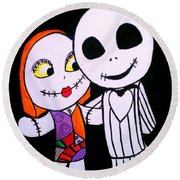 Jack And Sally Round Beach Towel