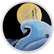 Jack And Sally Snowy Hill Round Beach Towel