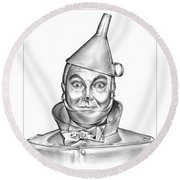 Jack Haley As The Tin Man Round Beach Towel by Greg Joens