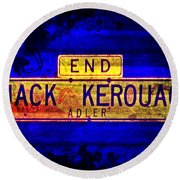 Round Beach Towel featuring the mixed media Jack Kerouac Alley by Michelle Dallocchio