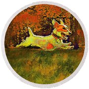 Jack Russell In Autumn Round Beach Towel