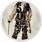 Jack Sparrow Inspired Pirates Of The Caribbean Typographic Poster Round Beach Towel by Ayse Deniz