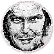 Jack Nicholson #2 Round Beach Towel by Salman Ravish