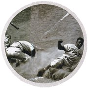 Jackie Robinson Sliding Home Round Beach Towel