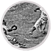 Jackie Robinson Stealing Home Round Beach Towel