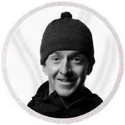 Jackson Hole Alpine Guide Portraits Round Beach Towel