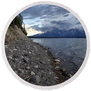 Jackson Lake Shore With Grand Tetons Round Beach Towel by Belinda Greb