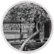 Jackson Square Bench And Tree Round Beach Towel