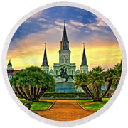 Jackson Square Evening - Paint Round Beach Towel