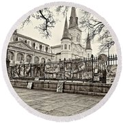 Jackson Square Winter Sepia Round Beach Towel