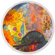 Round Beach Towel featuring the painting Jackson's Chameleon by Robin Maria Pedrero
