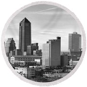 Round Beach Towel featuring the photograph Jacksonville Skyline Morning Day Black And White Bw Panorama Florida by Jon Holiday