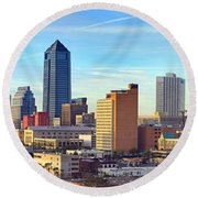 Round Beach Towel featuring the photograph Jacksonville Skyline Morning Day Color Panorama Florida by Jon Holiday
