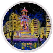 Jacobins Fountain During The Festival Of Lights In Lyon France  Round Beach Towel