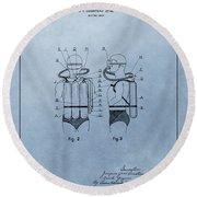 Jacques Cousteau Diving Suit Patent Round Beach Towel