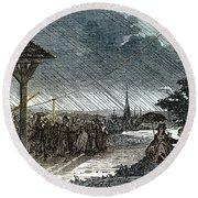 Jacques De Romas Kite Experiment, 1753 Round Beach Towel